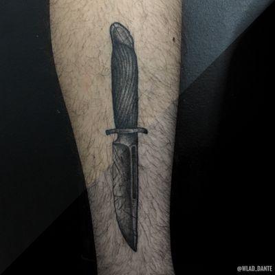 Healed. #knife #knifetattoo #weapon #dotwork #darkart #darktattoo #darktattoos #horror #saintpetersburg #weapontattoo #healedtattoo