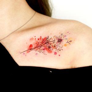 watercolor flower 🌸 #flowertattoo #colortattoo #watercolor #cloudtattoo #girltattoo #koreatattoo #fineline #illustrative #KoreanArtist