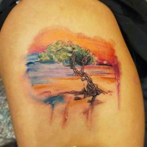 #dividivitree #watercolortree #treetattoo #aruba #sunsettattoo