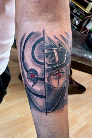 Black and gray Obito/ Kakashi anime tattoo #anime #animetattoo #naruto #blackandgrey #blackandgreytattoo #redink
