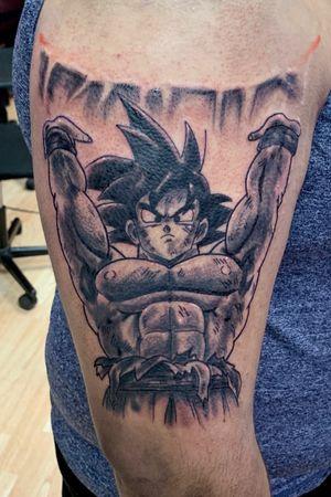 black and gray Goku #goku #anime #cartoon #blackandgrey #blackandgreytattoo #tattooart #tattooartist #blackandgrey