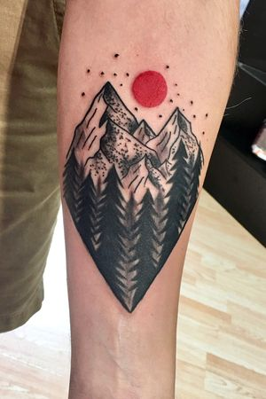 Trees and mountains blackwork/ dotwork