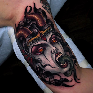 Happy Halloween!!! Demon lady on the inner bicep from yesterday