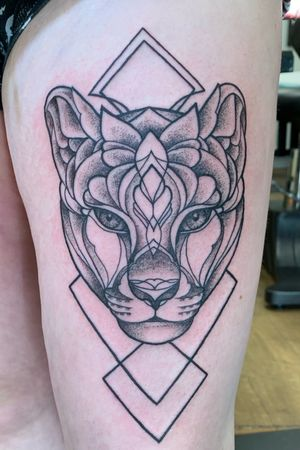 Geometric lioness. #lioness #geometric #blackwork.