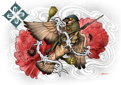 Trench sparrow with poppies. #poppy #sparrow #lestweforget #neotraditional #newschool