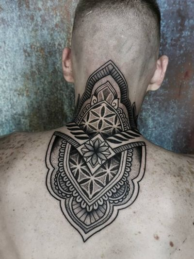 Geometric tattoo by Ash Boss #AshBoss #geometric #sacredgeometry #mandala #pattern #ornamental #dotwork #linework