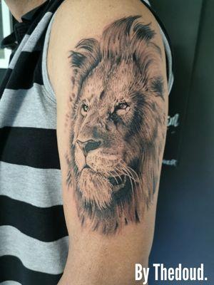 🔥🔥🔥REALISTIC LION FACE By Thedoud Cissé. Merci vincent pour ta confiance 👍🏽👍🏽👍🏽 @prilaga #tattooidea #tattooflash #tattooing #tattoolife #prilaga #tattooist #tattooart #tattooworkers #tattoolove #tattooed #tattoomodel #tattooartist #tattoos #tattoosleeve #tattoodo #tattoodesign #tattoostyle #tattooink #tattoo2me #tattoooftheday #tattoosofinstagram #tattooer #tattoo