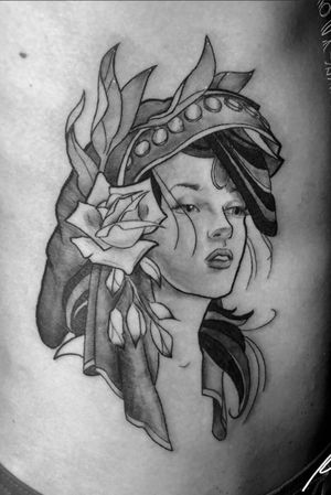 Instagram: @rusty_hst Neotraditional gypsy from the other day. #neotraditional #gypsy #blackandgrey