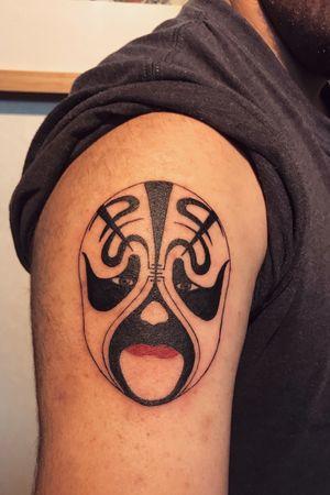 Mask of Beijing Opera #tattoo #tattoo #tattoos #tattooed #tattooart #chinesetattoo #tattooartists #tattoodo #skin #design #skinart #skinart_traditional #chinesetattoos #drawing #sketch #thebesttattooartists #routines #art #workharder #neotraditionaltattooers #neotraditional