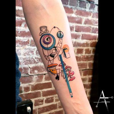Alice in Wonderland... . For custom designs and booking; alperfiratli@gmail.com #aliceinwonderland #geometrictattoo #geometric #colortattoo #tattoo #tattooartist #tattooidea #art #ink #inked #customtattoo #tattooist #timburton #linework #surreal #surrealism #movie #abstracttattoo #groovy #cheshirecat #movietattoo #madhatter #wonderland #alice #psychedelic