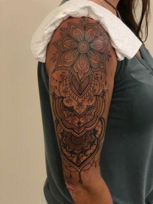 Fineline henna mandala half sleev ornamental ornate