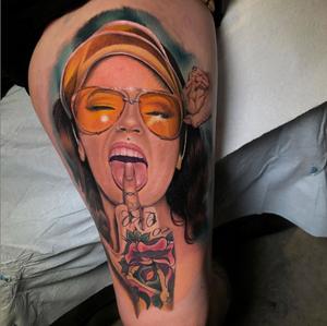 Started this one at @nixtattooshow last month , half healed / half fresh . Portrait of the amazing @angela_mazzanti —— done with @fkirons @worldfamousink @dermalizepro @tattoodo at @lovelesstattoo