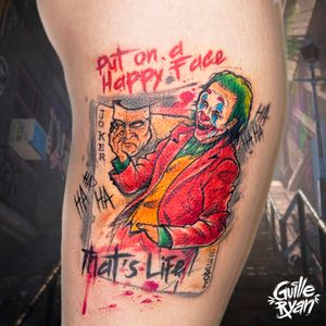 @guilleryan.arttattoo guilleryanarttattoo@gmail.com #jokermovie #joker #jokertattoos #batman #batmanandjoker #animetattoos #cartoontattoos #tattooartmagazine #watercolortattoo #geektattoos #frikitattoos #gamer #sketchtattoo #watercolor #barcelonatattoo #tattoobarcelona