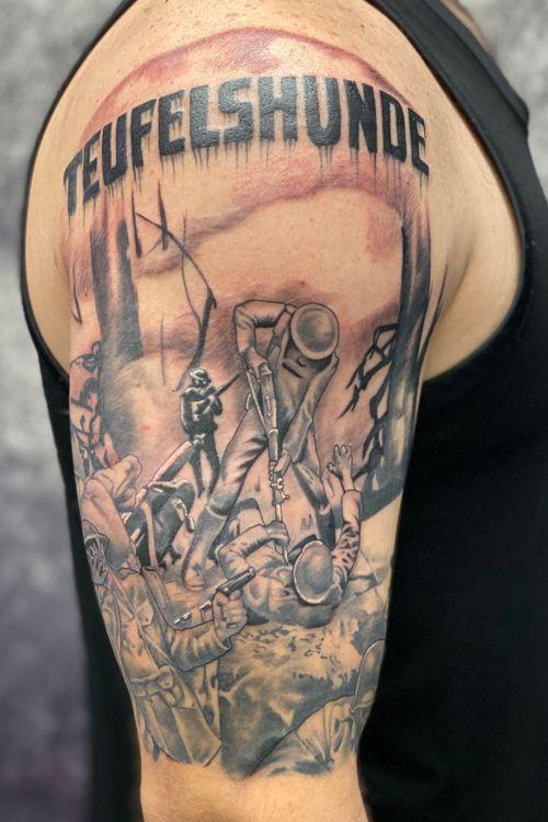 Devil Dogs!  @peakneedles @empireinks @fkirons @hustlebutterdeluxe @ultimatetattoosupply  #tattoos #inked #tattooed #tattoolife #inkedup #inklife #TeamPeak #tattoodesign  #inkedlife #tattooist #inkaddict  #travelingartist #colortattoo  #tattooed #knoxville #knoxvilletattoo #knoxvilletattooer #peakneedles #quartzcartridges  #yckth #knoxtatts #xionstealth #mythicalcrew #tatted4life80 #inkdgeneration #wwII #marinetattoo #devildogs