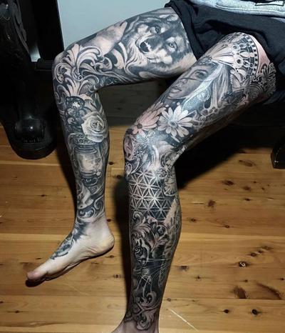 Couplea leg sleeves on @shaunscustomalloy ✨ @garageinkmanor @swashdrive_tattoo_official @metrixneedles @tattoodo @aftercareh2ocean @starbritecolors @tommyssupplies @tacsciences @z00tatt00 #beauty #fullsleeve #blackandgrey #family #life #wonder #gratitude #appreciation #beyondourskin #garageinkmanor #starbright #heart #sleeve hey