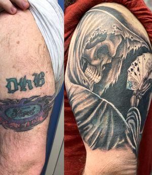 Before/after dead mans hand coverup. 1st session  @peakneedles @empireinks @fkirons @hustlebutterdeluxe @ultimatetattoosupply  #tattoos #inked #tattooed #tattoolife #inkedup #inklife #TeamPeak #tattoodesign  #inkedlife #tattooist #inkaddict  #travelingartist #colortattoo  #tattooed #knoxville #knoxvilletattoo #knoxvilletattooer #peakneedles #quartzcartridges  #yckth #knoxtatts #xionstealth #mythicalcrew #tatted4life80 #inkdgeneration #coveruptattoo #grimreaper #reapertattoo #deadmanshand