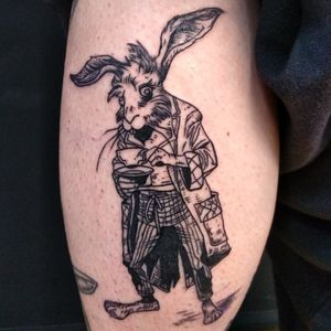 Alice's Adventures in Wonderland Hare tattoo, by Adam McDade. #aliceinwonderland #hare #adammcdade