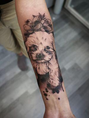 #dogtattoo #ilovemydog #tattooart #tattoolife #tattooed #inked #tattooartist #tattoodo #tattoodoapp #awesometattoo #besttattoo #blackandgrey #blackandgreytattoo #armtattoo #fullarmsleve #tattooartist #tattoodo