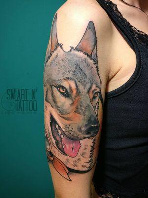 Dog portrait tattoo by Simone Migliorini #SimoneMigliorini #dog #petportrait #realism #color