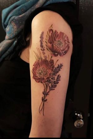 Poppies and botanicals done at Seven Foxes Tattoo