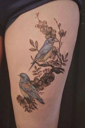 Birds and blossoms done at Seven Foxes Tattoo