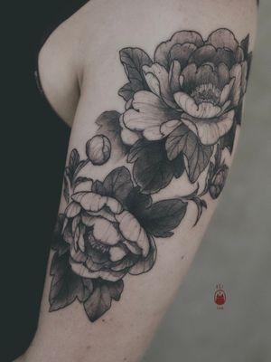 PEONIES #peonies #peonytattoo #floraltattoo #darkflowers #shouldertattoo #shoulderpiece