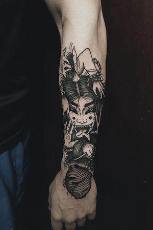 -💀 #tattoo #tattooart #tattoodesing #black #tatuaje #diseñotatuaje #dotwork #blacktattoo #demontattoo