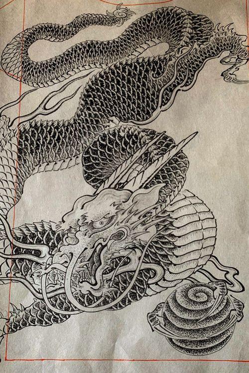 Ryu drawing for T-shirt on handmade Japanese rice paper  Tシャツ用のデザイン _ _ @kurosumitattooink #kurosumi #kurosumiink #kurosumitattooink @dermalizepro #dermalizepro  _ _ _ _ #drawing  #tattoodrawing #tebori #handpoke #irezumi #horimono #wabori #japantattoo #traditionaljapanesetattoo #japaneseirezumi #tradition #ink #inked #tattooart #tattoolife #tattooideas #japaneseculture #tattoosketch #japaneseart #ドローイング #刺青 #タトゥー #ryu #irezumicollective