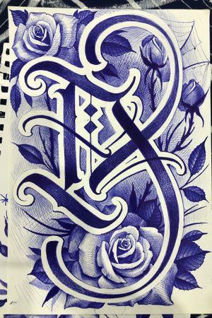 #lettering #rose #blue