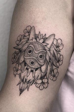 Princess Mononoke #tattoo #tattoos #blackandgreytattoos #inkedmag#myinkaddict #lasvegas #tattooworkers #tattooartist #inked #blacktattoo #tattooart #worldofpencils #artist #floral#floraltattoo #lasvegastattoo #lasvegastattooartist #dotwork #iblackwork #artist #inked #peony #blxink #peonytattoo #peonies#crosshatch#spiritedaway