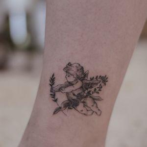 Angel fineline tattoo