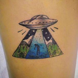 Alien abduction color tattoo