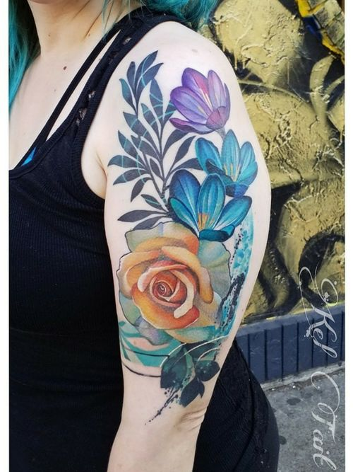 #watercolortattoo #watercolourtattoo #rosetattoo #botanicaltattoo #halfsleeve  #chicago #chicagotattooers #chicagotattooartists #botanicaltattoo #paintbrushtattoo