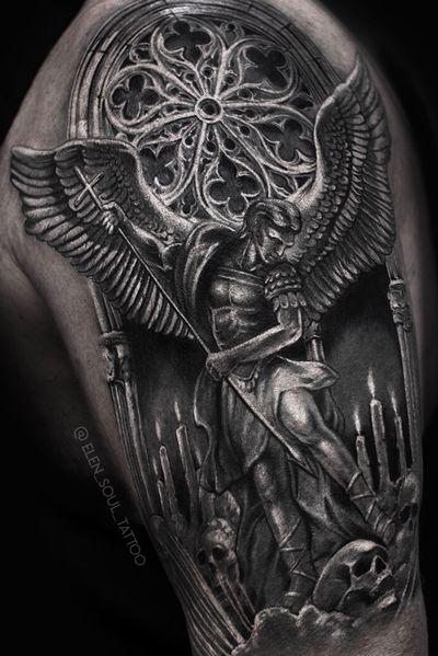 #angel #blackandgray #gothic