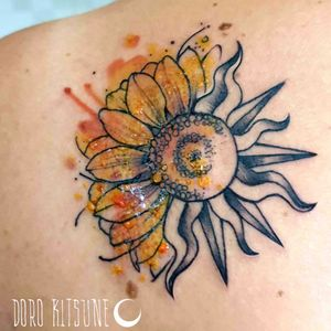 Sun sunflower watercolor  girasole sole