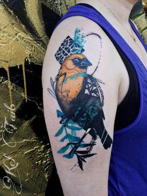 #watercolortattoo #watercolourtattoo #birdtattoos #birdtattoo #botanicaltattoo #armtattoo #chicago #chicagotattooers #chicagotattooartists #yellowheadedblackbird #paintbrushtattoo #naturetattoo #botanicaltattoo