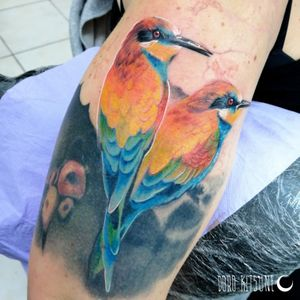 Work in progress color tattoo birds uccellini colorati