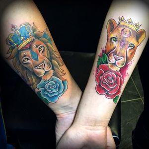 Tatuaje de pareja. #coupletattoo #liontattoo