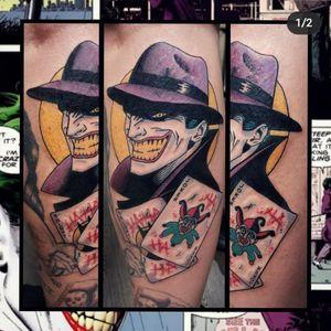 Joker... #geektattoo #geekedouttattoos #geeksterink #geekytattoos #comicbooktattoo #nerdytattoos #nerdtattoo #nerdtattoos #brightandbold #traditionaltattoo #realtattoos #realtraditional #tattoos #tattooflash #neotraditional #solidtattoo #lasvegastattooer #dccomicstattoo #dccomics #batman #batmantattoo #joker #jokertattoo