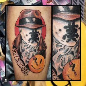 Rorschach... #geektattoo #geekedouttattoos #geeksterink #geekytattoos #comicbooktattoo #nerdytattoos #nerdtattoo #nerdtattoos #brightandbold #traditionaltattoo #realtattoos #realtraditional #tattoos #tattooflash #neotraditional #solidtattoo #lasvegastattooer #dccomicstattoo #dccomics #watchmen #thewatchmen #rorschach