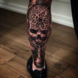 #realistic #skull #leg #skulltattoo #candle #rosewindow #churchwindow #ornaments #smoke #cranium