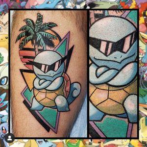 Squirtle... #geektattoo #geekedouttattoos #geeksterink #geekytattoos #comicbooktattoo #nerdytattoos #nerdtattoo #nerdtattoos #brightandbold #traditionaltattoo #realtattoos #realtraditional #tattoos #tattooflash #neotraditional #solidtattoo #lasvegastattooer #pokemon #pokemontattoos #squirtle #squirtlesquad