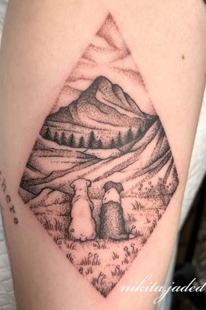 Dog tribute in a #dotwork #mountain #landscape on the inner arm