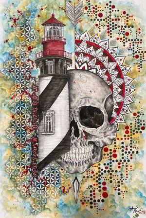Abstract Lighthouse and Skull #skullart #staugustinelighthouse #lighthouseart #mandalaart #geometricart #staugustineabstractartist #staugustinetattooartist