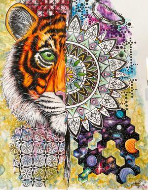 Abstract Tiger Mandala Galaxy #tigerart #mandalaart #galaxyart #geometricart #watercolorart #staugustineabstractartist #staugustinetattooartist