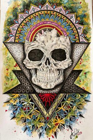 Abstract Skull and Mandala #skullart #mandalaart #geometricart #watercolorart #abstractart #staugustinetattooartist #staugustineabstractartist