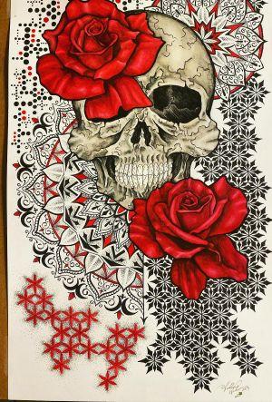 Abstract Skull and Roses #skullart #roses #mandalas #geometricart #mandalaart #staugustineabstractartist #staugustinetattooartist