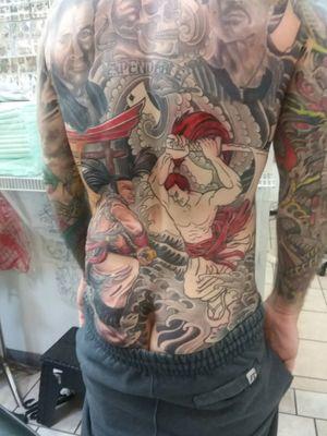 Samurai Shodown back piece, session 6, picture 3. Two more sessions left! Artist - Heath Whitten Studio - Hero Tattoo in Conway SC #videogames #retrogaming #snk #arcade #samuraitattoo #samurai #retro #classicgaming #neogeo #backpiece #backtattoo #irezumi #irezumitattoo #irezumiinspired