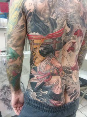 Samurai Shodown back piece, session 6, picture 2. Artist - Heath Whitten Studio - Hero Tattoo in Conway SC #videogames #retrogaming #snk #arcade #samuraitattoo #samurai #retro #classicgaming #neogeo #backpiece #backtattoo #irezumi #irezumitattoo #irezumiinspired