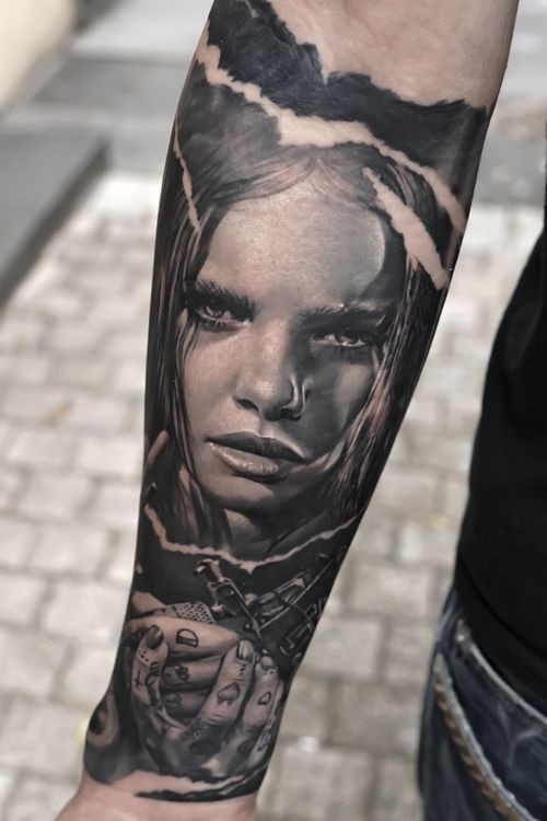 First part of this full forearm done last week